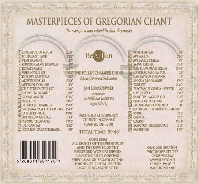 Masterpieces of Gregorian Chant - Bearton