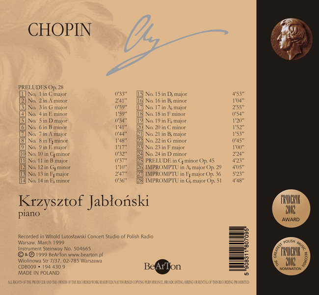 Chopin Jabłoński Preludia Impromptus V7 CDB009 WNA